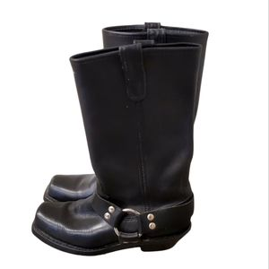 Ladies Double H Black Leather Harness Motorcycle Riding Boots 7.5